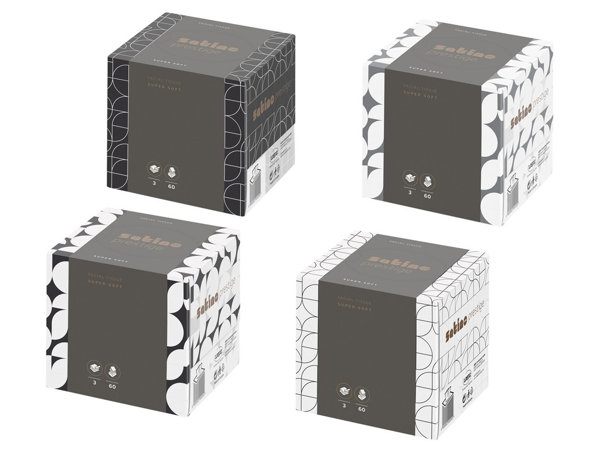 Kosmetiktücher in der Würfelkartonage Cube Prestige