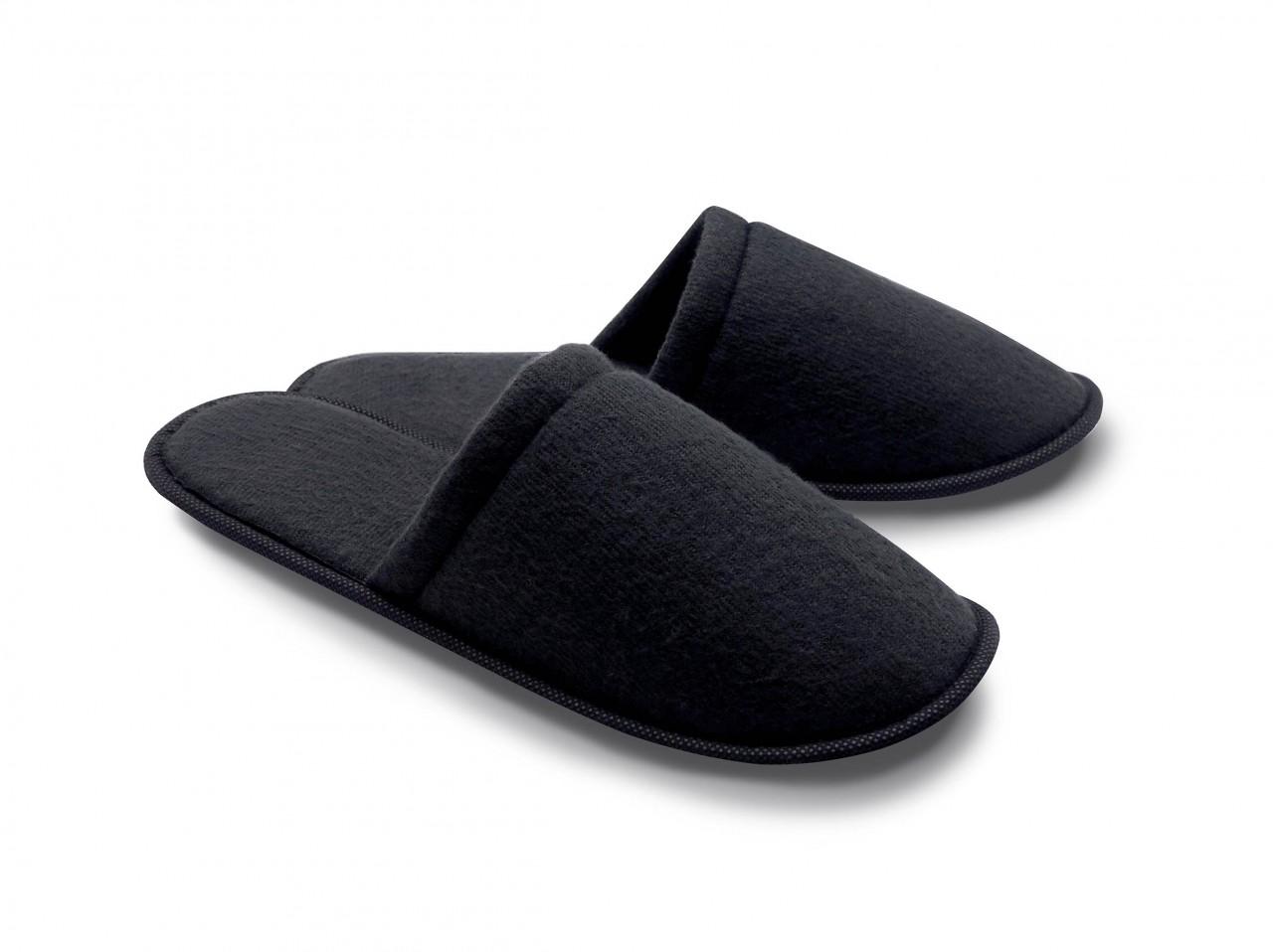 Frottee-Slipper schwarz, vorne geschlossen