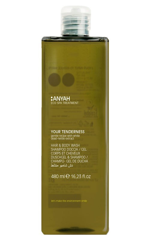 Anyah Hair-&Bodywash 480ml Retail-Flacon mit Flip-Top-Verschluss