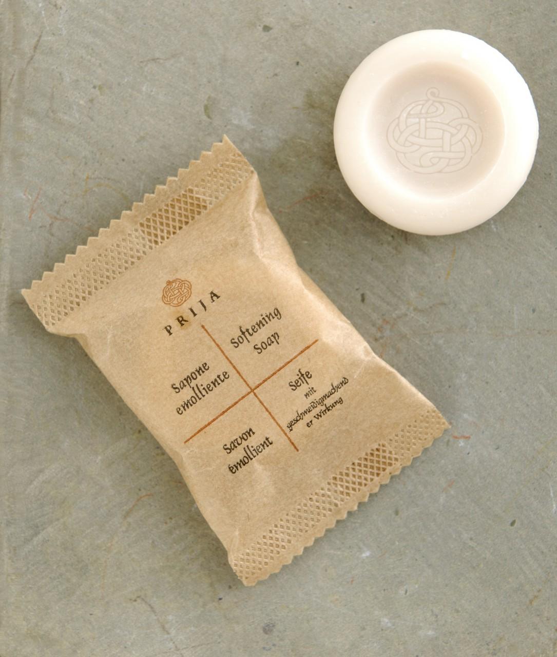 Runde Seife 15g im Papierflowpack mit geschmeidigmachender Wirkung